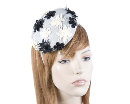 Small round grey winter pillbox Max Alexander J296G Fascinators.com.au