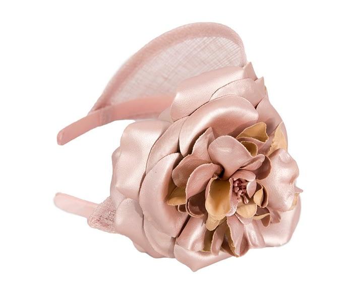 Rose gold leather flower headband racing fascinator Fascinators.com.au