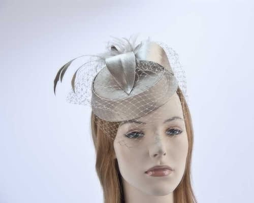 Buff pillbox hat  K4811BU Fascinators.com.au