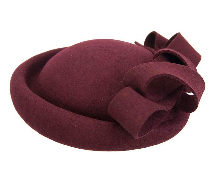Burgundy winter felt fascinator hat by Fillies Collection Fascinators.com.au