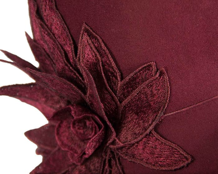 Burgundy winter felt cloche hat with lace flower by Max Alexander Fascinators.com.au