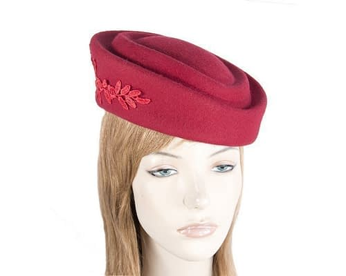 Large red felt beret hat Fascinators.com.au