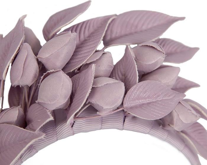 Lilac leather flower racing fascinator by Max Alexander Fascinators.com.au