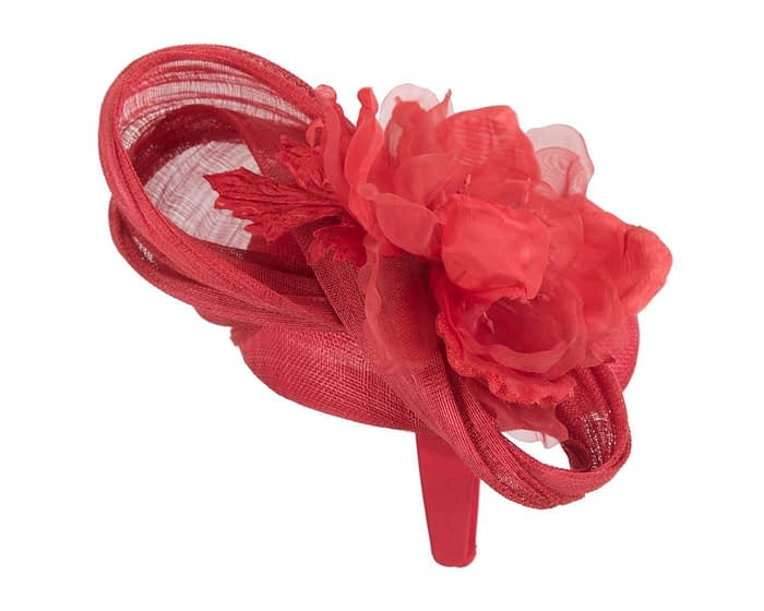 Red flower pillbox racing fascinator by Fillies Collection Fascinators.com.au
