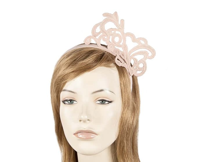 Blush lace crown fascinator Fascinators.com.au