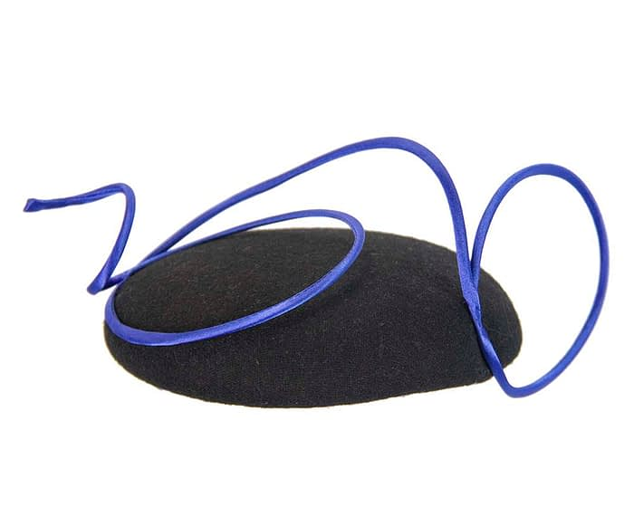 Black felt fascinator with blue wire trim Fascinators.com.au