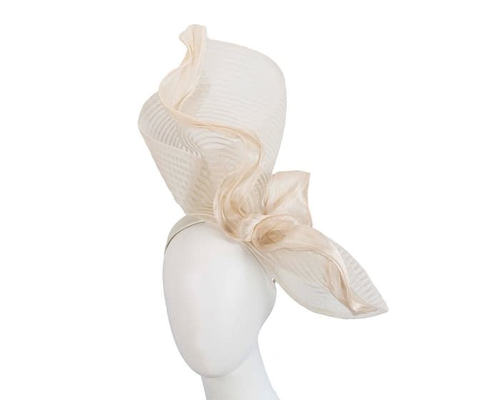 Tall twirl cream racing fascinator by Fillies Collection Fascinators.com.au