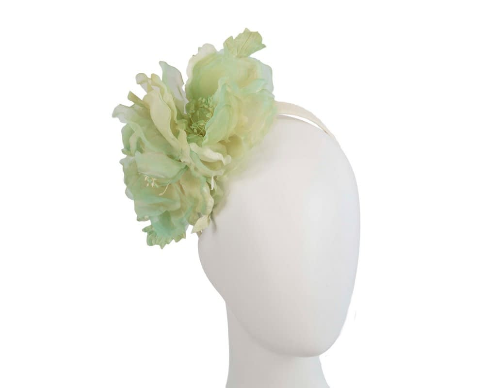 Large light green flower headband fascinator by Fillies Collection Fascinators.com.au
