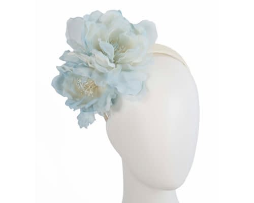 Large light blue flower headband fascinator by Fillies Collection Fascinators.com.au