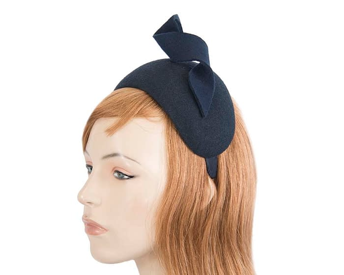 Navy puffy band designers winter fascinator by Max Alexander Fascinators.com.au