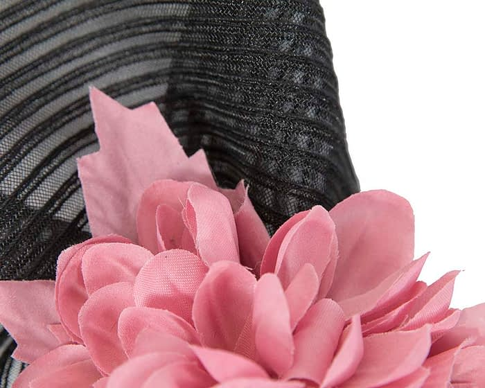Large black & pink fascinator with roses by Fillies Collection Fascinators.com.au