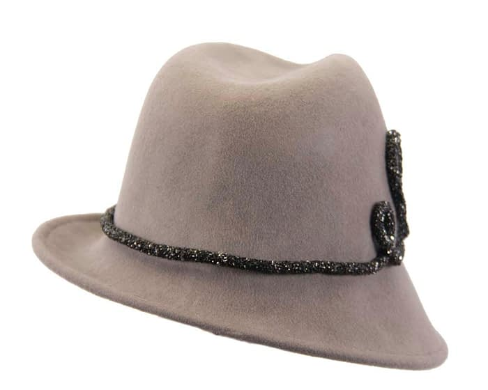 Grey felt winter trilby fashion hat Fascinators.com.au