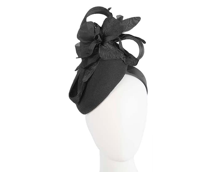 Bespoke black pillbox winter fascinator with flower by Fillies Collection Fascinators.com.au