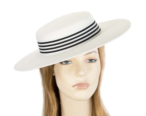 White & black boater hat by Max Alexander Fascinators.com.au