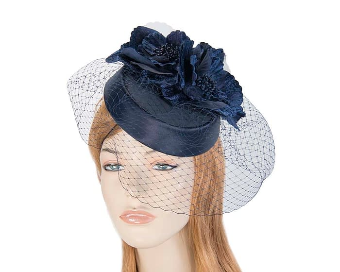 Navy pillbox hat with flowers and veil by Cupids Millinery Fascinators.com.au