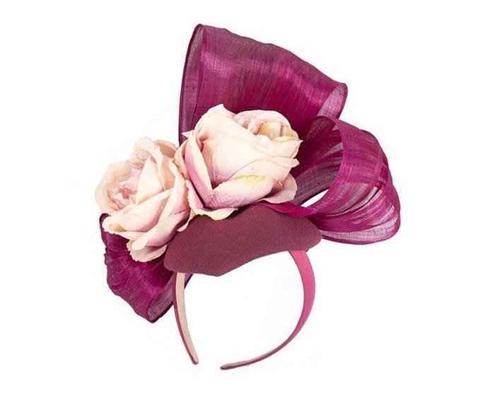 Bespoke burgundy & pink felt racing fascinator Fascinators.com.au