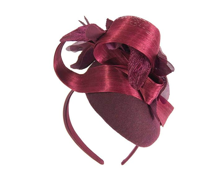 Bespoke burgundy pillbox winter fascinator with flower by Fillies Collection Fascinators.com.au