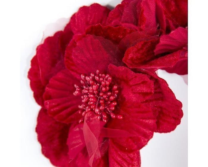 Red flower halo Fascinators.com.au S189 red closeup
