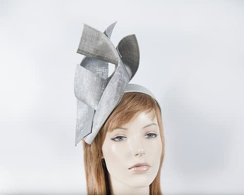 Silver leather fascinator Fascinators.com.au