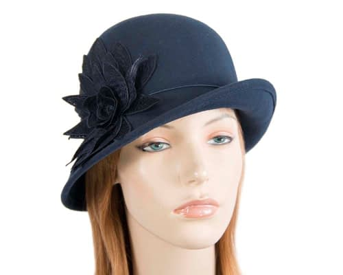 Navy winter felt cloche hat with lace flower by Max Alexander Fascinators.com.au J365 navy