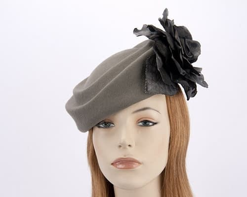 Large grey pillbox hat with black rose flower F593GB Fascinators.com.au