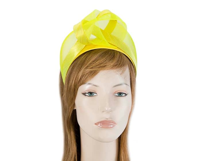 Yellow turban headband by Fillies Collection Fascinators.com.au