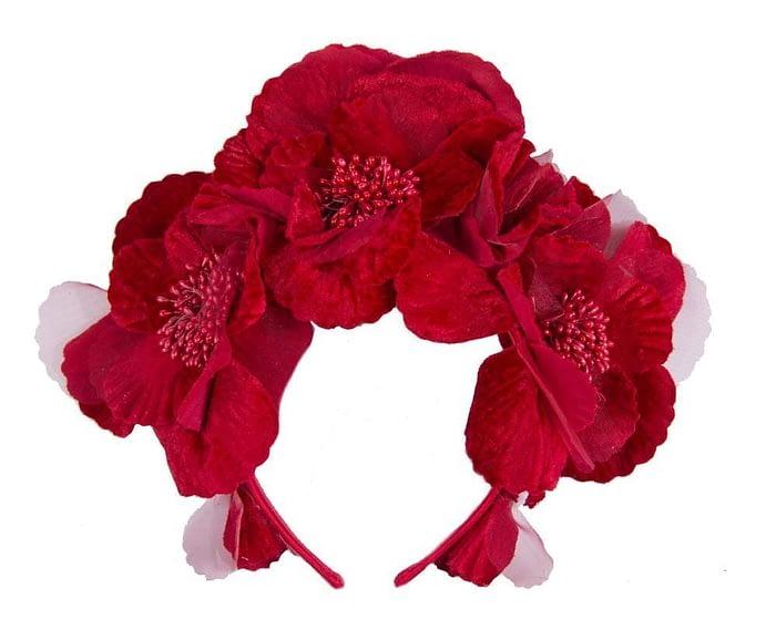 Red flower halo Fascinators.com.au S189 red1