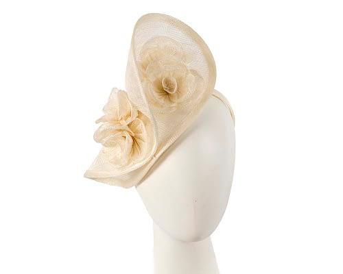 Cream sinamay fascinator on headband by Max Alexander Fascinators.com.au