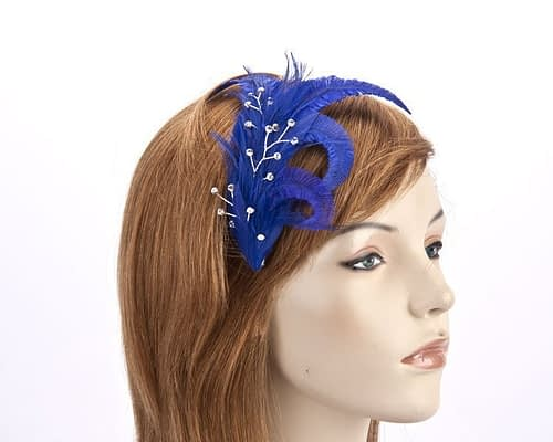 Royal blue feather comb 4400BL Fascinators.com.au