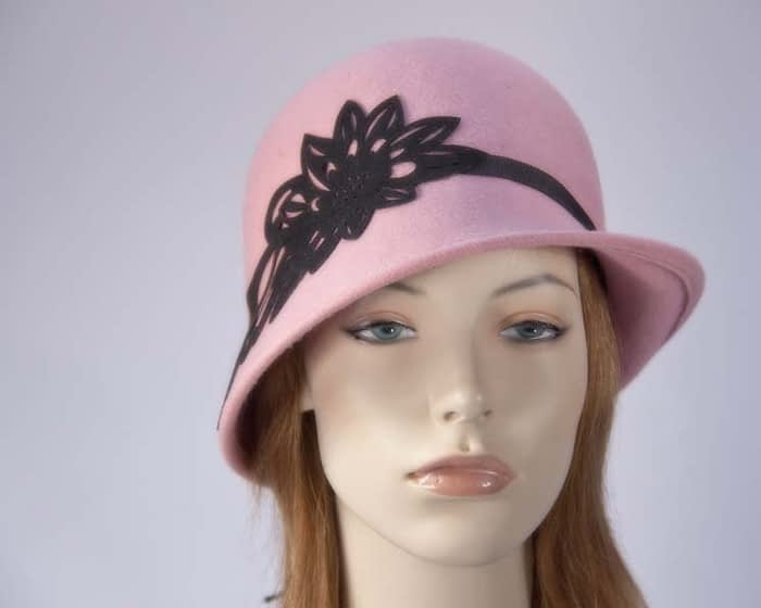 Pink ladies winter felt cloche hat Max Alexander J285P Fascinators.com.au