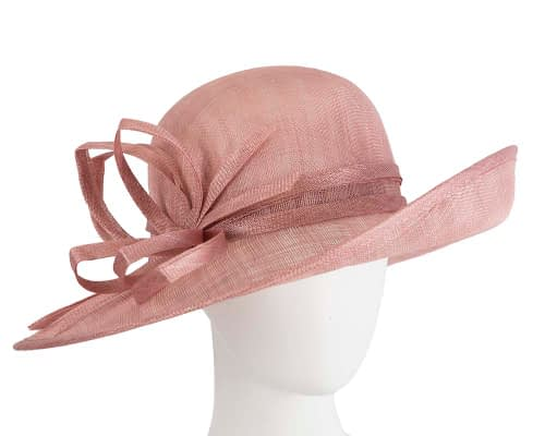 Wide brim dusty pink racing hat by Max Alexander Fascinators.com.au