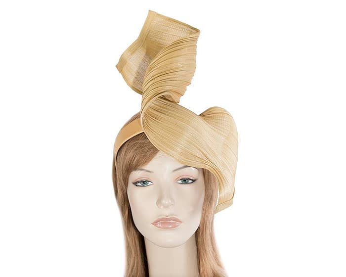 Gold jinsin wave fascinator by Fillies Collection Fascinators.com.au