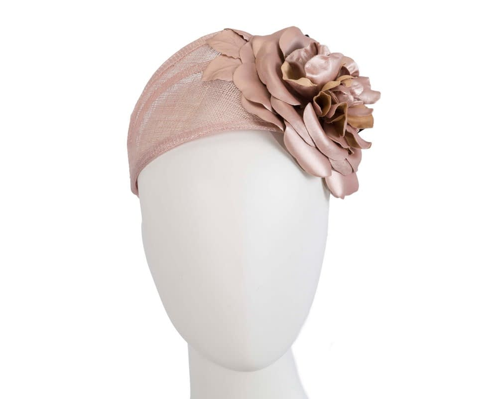 Rose gold leather flower headband racing fascinator Fascinators.com.au