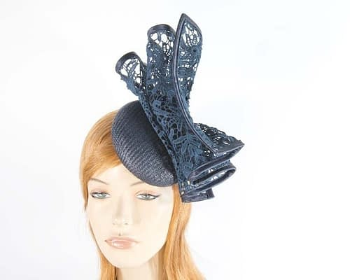 Navy pillbox fascinator for races by Fillies Collection S166N Fascinators.com.au