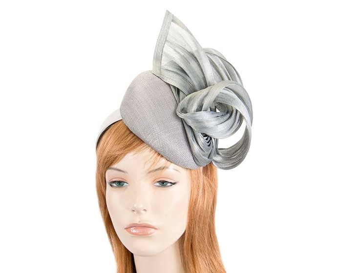 Silver pillbox with silk abaca bow Fascinators.com.au