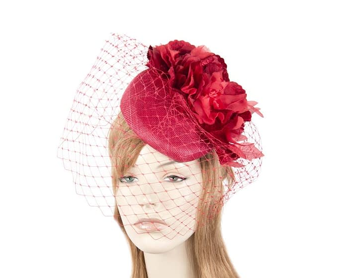 Red flower pillbox with face veiling Fascinators.com.au