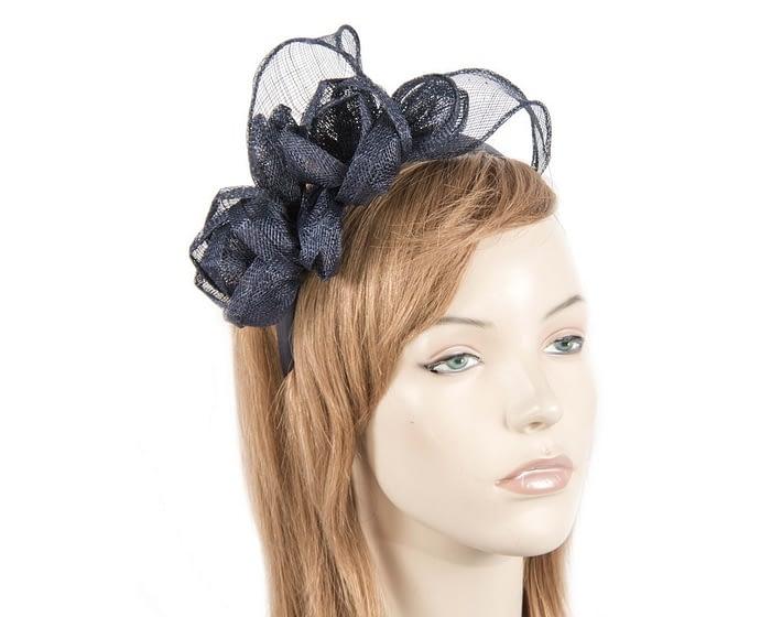 Navy sinamay flowers headband Fascinators.com.au