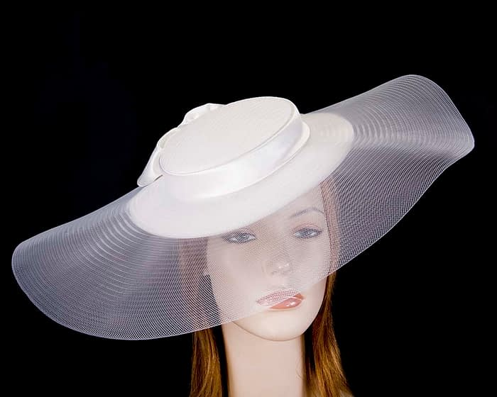 Wide brim white boater hat by Fillies Collection Fascinators.com.au