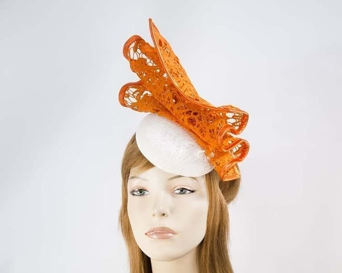 White & orange pillbox fascinator for races by Fillies Collection Fascinators.com.au