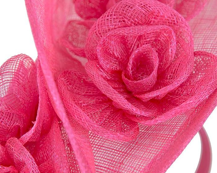 Fuchsia sinamay fascinator on headband by Max Alexander Fascinators.com.au