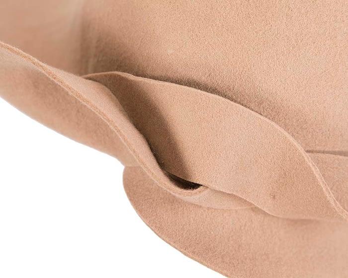 Unusual wide brim beige felt hat by Max Alexander Fascinators.com.au
