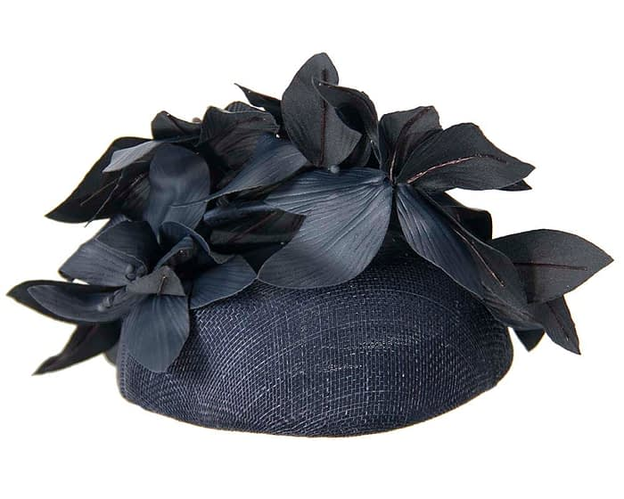 Navy leather flowers pillbox by Fillies Collection Fascinators.com.au