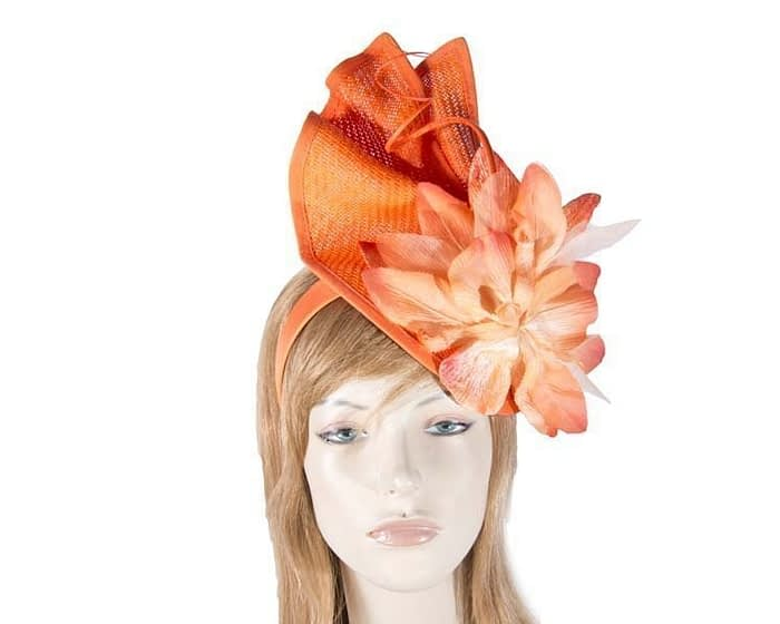 Orange fascinator with flower Fascinators.com.au