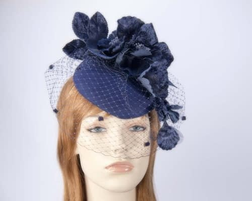 Navy winter felt pillbox with face veil F574N Fascinators.com.au