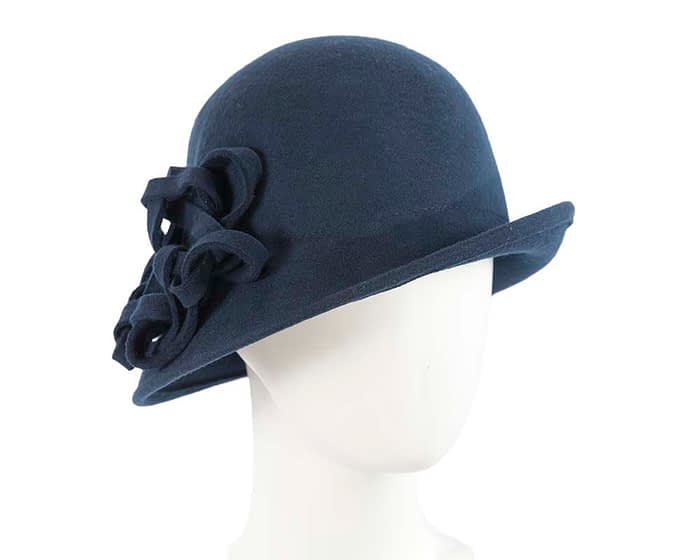 Navy felt cloche hat with original trim Fascinators.com.au