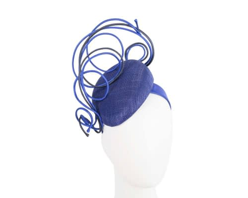 Bespoke blue & navy wire loops pillbox racing fascinator by Fillies Collection Fascinators.com.au