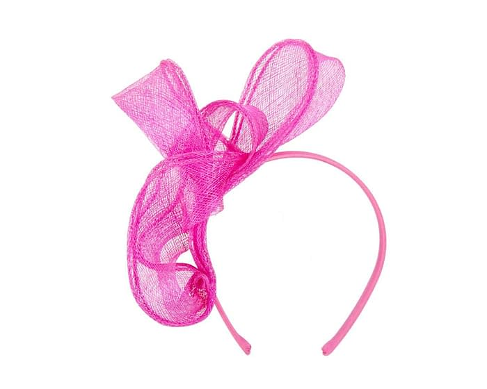 Fuchsia layered sinamay fascinator Fascinators.com.au