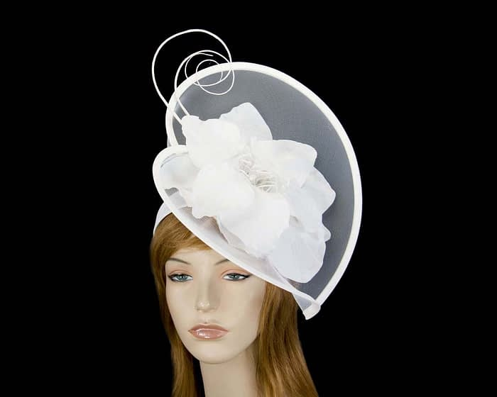 White heart flower fascinator Fascinators.com.au