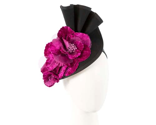 Black Fillies Collection fascinator with purple flowers Fascinators.com.au