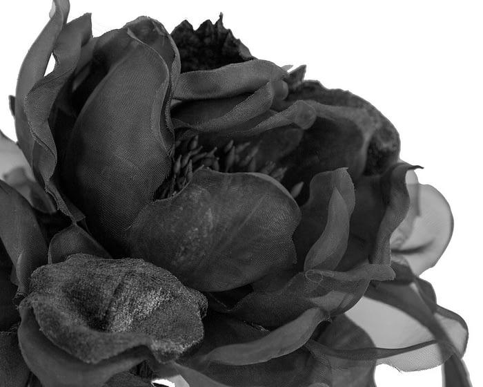 Large black flower headband fascinator by Fillies Collection Fascinators.com.au